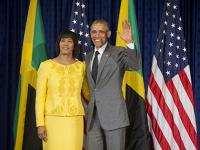 Move over Michelle! Jamaican PM tells President Obama how much she loves him