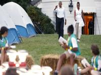 Obamas camp-out with <b>Girl</b> <b>Scouts</b> on White House lawn, crack some dance moves