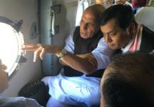 Assam floods: Rajnath Singh takes aerial survey of affected areas with CM Sarbananda Sonowal