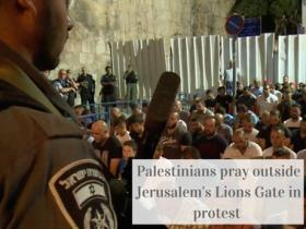 Watch: Palestinians protest Israel's installation of metal detectors at Jerusalem's Lions Gate