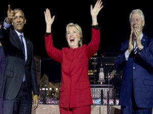 US presidential election 2016: Clinton's upbeat final push, with Barack and The Boss
