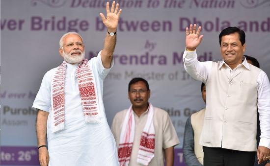Narendra Modi inaugurates India's longest bridge in Assam, to mark three years as prime minister