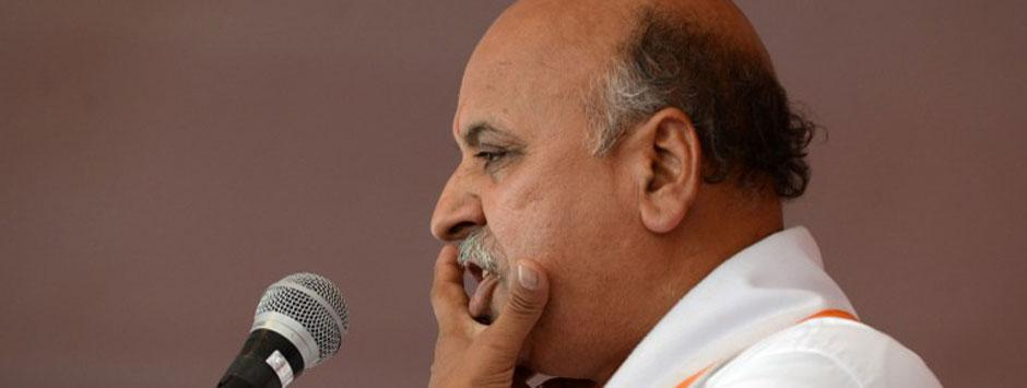Togadia, cries conspiracy, to sue media over hate speech claims