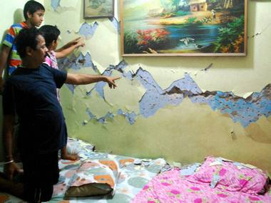File image of a crack on the wall after a tremor in north India. PTI