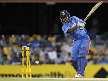 India's Vinay Kumar is bowled out during their one-day international cricket match against Australia in Brisbane. Reuters