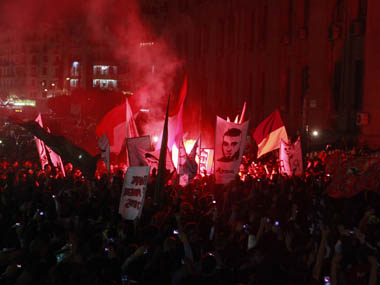Al-Ahly soccer fans at a protest in Cairo. Reuters