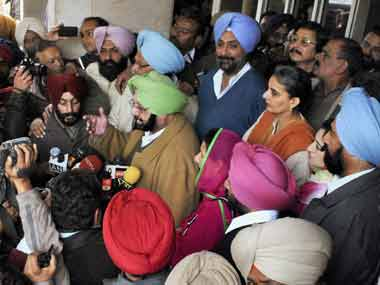 File image of Amarinder Singh and other Punjab Congress members. PTI