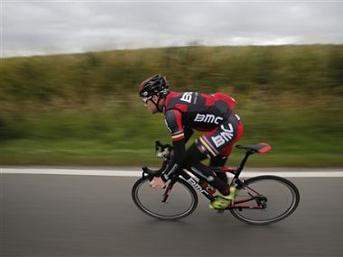 Australia's Cadel Evans, 2011 Tour de France cycling race winner, trains near Liege, Belgium. AP