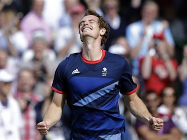 Britain's Andy Murray celebrates after defeating Switzerland's Roger Federer to win the men's singles gold medal match. AP