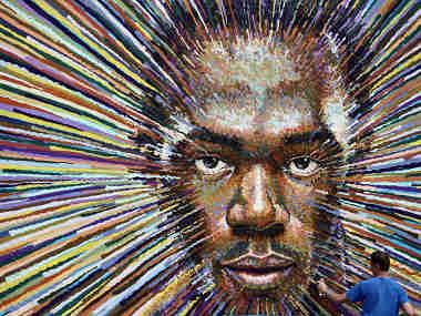 James Cochran Aka Jimmy C's Artwork Of Runner Usain Bolt. Getty Images