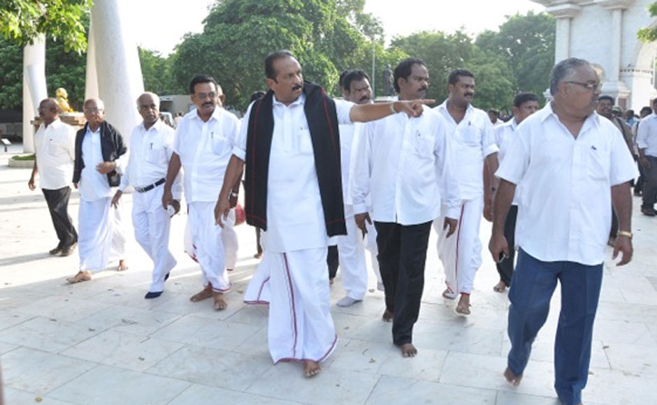 """MDMK General Secretary Vaiko along with his party workers left for Sanchito stage a """"peaceful protest"""" against the visiting Sri Lankan President. Firstpost"""