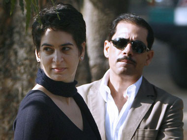 Priyanka Gandhi Vadra with husband Robert Vadra. AFP file image