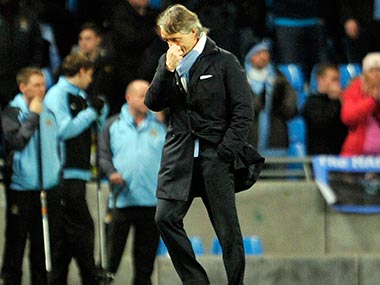 Mancini was distraught after his team's loss. AP