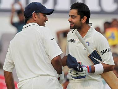 Dhoni and Kohli in happier times. PTI