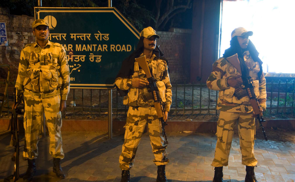 Security outside Jantar Mantar. Naresh Sharma/Firstpost