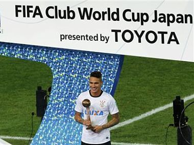 Guerrero of Brazil's Corinthians wins the best player trophy during the FIFA Club World Cup final soccer match against Britain's Chelsea in Yokohama. Reuters