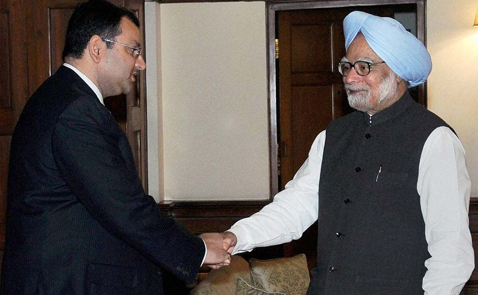 Prime Minister Manmohan Singh meets new Chairman of Tata group Cyrus Mistry in New Delhi. PTI