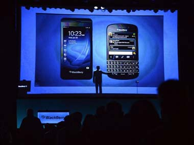 The BlackBerry 10 at the launch event: AP
