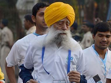 Fauja Singh at the Mumbai Marathon. AFP