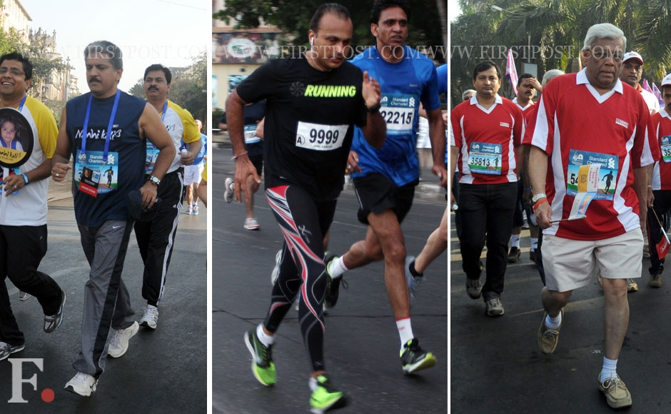 Chairman and Managing Director of Mahindra & Mahindra, Anand Mahindra, Anil Dhirubhai Ambani Group Chairman Anil Ambani and HDFC Chairman Deepak Parekh at the Mumbai Marathon. Sachin Gokhale/Firstpost