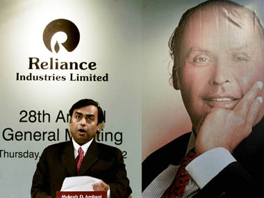 CHAIRMAN OF RELIANCE INDUSTRIES LIMITED AMBANI SPEAKS IN BOMBAY.