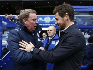 Queens Park Rangers manager Harry Redknapp greets Tottenham Hotspur's manager Andre Villas-Boas in London. Reuters