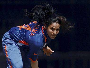 India's Amita Sharma bowls during a practice match against Australia in Mumbai on Tuesday ahead of Women's World Cup. PTI