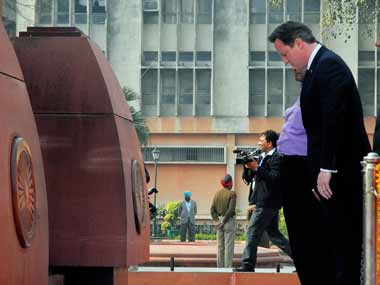 Cameron at Jallianwala Bagh. AP.