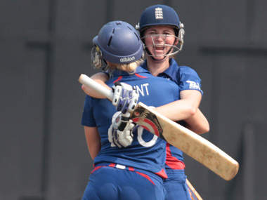 Edwards celebrates her century with Brunt. ICC/Solaris Images