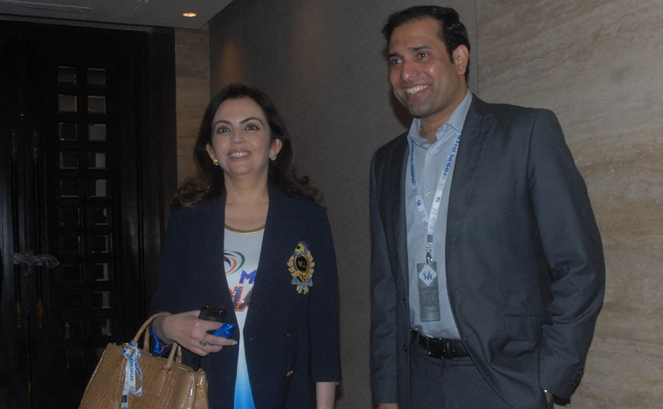 Mumbai Indians owner Nita Ambani with VVS Laxman at the IPL auctions in Chennai. Firstpost