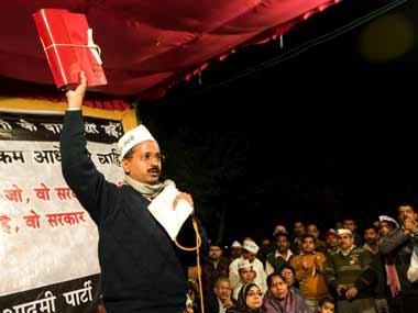 Arvind Kejriwal at the jan sabha in Patel Nagar. Naresh Sharma/ Firstpost