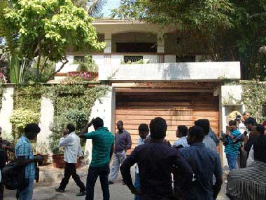 The actress' residence in Chennai which was attacked yesterday. Firstpost
