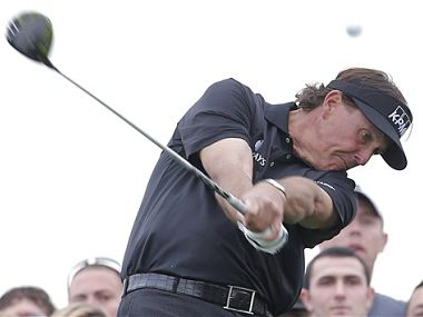 Phil Mickelson hits from the 15th tee during the final round of the Waste Management Phoenix Open. AP