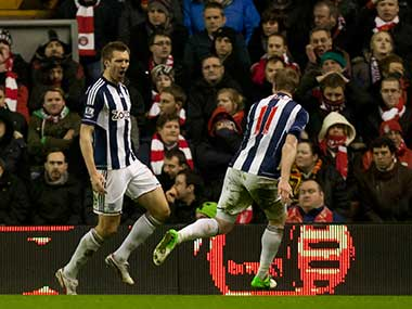 File photo of West Bromwich Albion players. AP