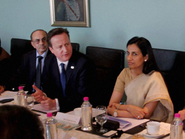 British Prime Minister David Cameron addresses the Indo- British Business. PTI