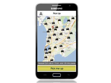 Location of Olacabs in a smartphone. Image courtesy Olacabs