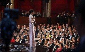"Anne Hathaway accepts the award for best actress in a supporting role for ""Les Miserables"" at the Oscars at the Dolby Theatre on Sunday Feb. 24, 2013, in Los Angeles.  AP"