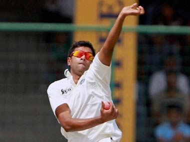 R Ashwin took four wickets on the first day in Delhi. PTI