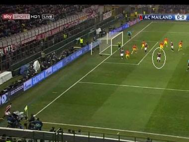 Boateng left completely unmarked during a corner.