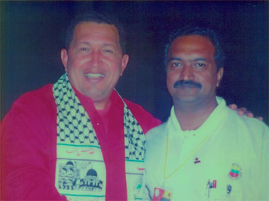 CPM Rajya Sabha MP KN Balagopal with Hugo Chavez in Caracas in 2005.