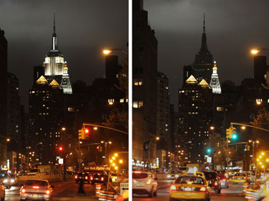 he Empire State Building turns off its lights during Earth Hour last year. AFP