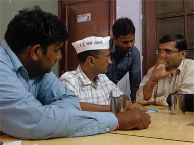 A file image of Kejriwal and the AAP team in the office. Danish Raza/ Firstpost
