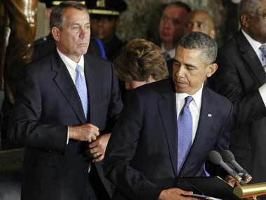 Don't expect a compromise anytime soon. U.S. President Barack Obama is pictured alongside House Speaker John Boehner .Reuters