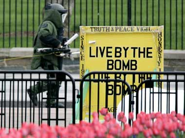 Bomb squad in action. Reuters