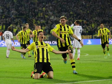 Lewandowski scored four times for Dortmund. AP