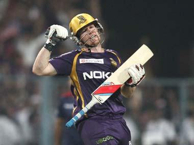Eoin Morgan of the Kolkata Knight Riders celebrates after hitting the winning runs. BCCI