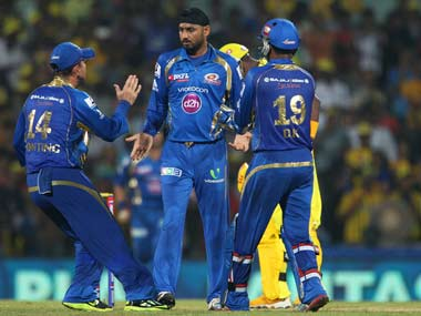 Harbhajan celebrates a wicket with Ponting during Mumbai vs CSK. BCCI