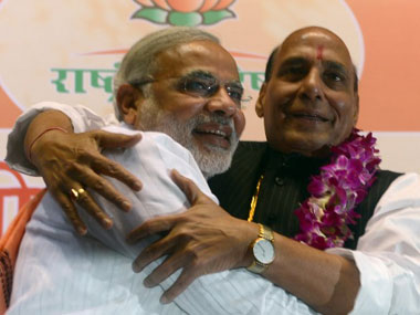Rajnath Singh with Narendra Modi. AFP