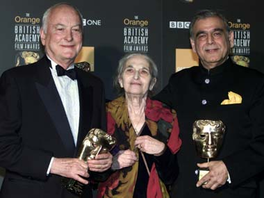 File photo of James Ivory, Ruth Prawer Jhabvala and Ismail Merchant, who together formed Merchant Ivory Productions. Reuters