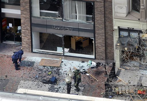 One of the blast sites on Boylston Street near the finish line of the 2013 Boston Marathon. AP